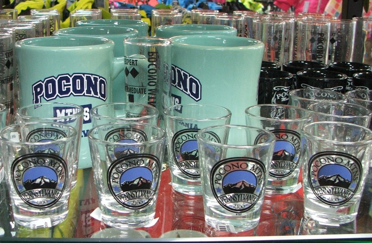 Pocono Souvenir Shot Glasses on Display